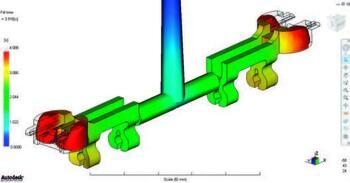 Рис. 1. Результаты 3D$расчета процесса заполнения для двуместной отливки: а) положение фронта расплава в заданный момент времени с начала впрыска;