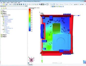 Интерфейс Autodesk Simulation CFD. Многие инструменты и алгоритмы работы с моделью будут знакомы и интуитивно понятны пользователям CAD. Расчет охлаждения электронной системы. Распределение температур. Моделирование вынужденной конвекции