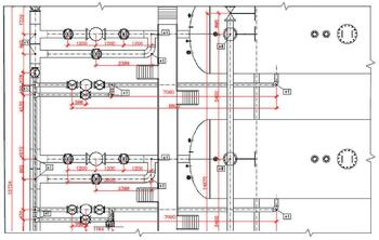 Рис. 7. Работа Мастера простановки размеров Model Studio CS в стандартной поставке: автоматически нанесены осевые линии, проставлены размеры трубопроводов, высотные отметки на плане