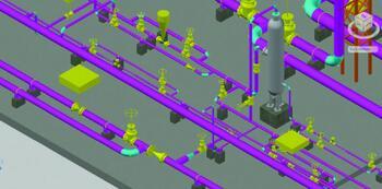 Разветвленная сеть трубопроводов в Model Studio CS Трубопроводы