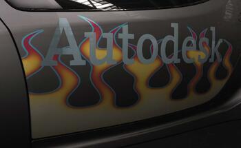 Рис. 15. Матовая картинка огонь и глянцевый логотип Autodesk на двери машины