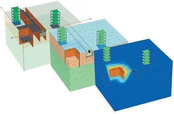 Рис. 2. Котлован подземного гаража в условиях городской застройки (PLAXIS 3D)