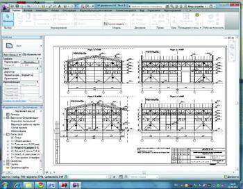 Один из листов документации АР в Revit Architecture