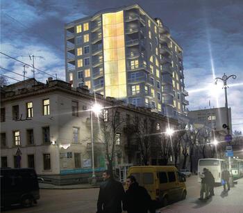 Фотомонтаж - дом вписан в фотографии реального участка улицы