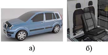 Рис. 5. ЦП тюнинга автомобиля: а – экстерьера, б – сиденья (фрагмент магистерской диссертации студентов НГТУ)