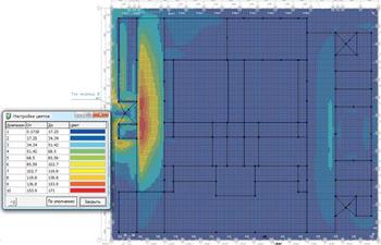Рис. 9. Распределение напряжения шага (В) при молниевом разряде в молниеотвод М1