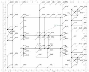 Рис. 12. Потенциалы (В) узлов ЗУ при однофазном КЗ в сети 110 кВ на Т1