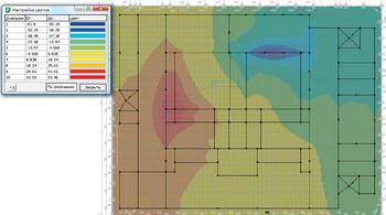 Рис. 15. Распределение потенциалов (В) при двухфазном КЗ в сети 10 кВ на Т2 и КРУМ
