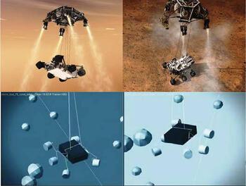 Рис. 8. Моделирование процесса спуска Curiosity в MSC Adams