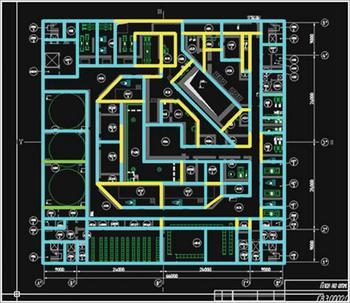 Рис. 5. Два топологически несовместимых вида моделей: архитектурная (серая подложка) и конструктивная (цветные линии)