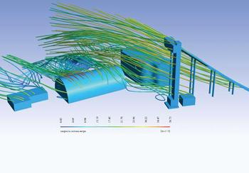 Рис. 4. Распределение скоростного потока ветра в расчетной области