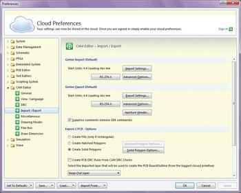 Рис. 1. Закладка Import/Export раздела CAM Editor окна системных настроек