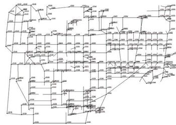 Рис. 6. Потенциалы (В) узлов ЗУ ОРУ при молниевом разряде в молниеотвод М3
