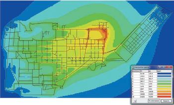 Рис. 7. Распределение напряженности магнитного поля на территории ОРУ при молниевом разряде в молниеотвод М3