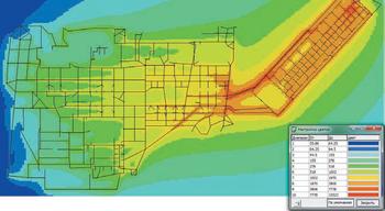 Рис. 13. Распределение напряженности магнитного поля при однофазном КЗ в сети 220 кВ на шинах КРУЭ