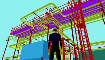 Рис. 5. Комплексная модель обустройства месторождения нефти и газа, выполненная специалистами ОАО ВНИПИгаздобыча (фрагмент 2)