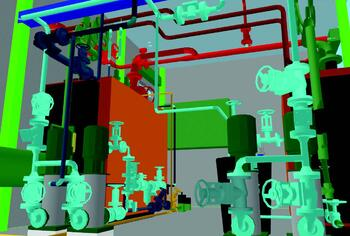 Рис. 6. Трехмерная модель паровой котельной, выполненная специалистами ОАО МПНУ Энерготехмонтаж (фрагмент 1)