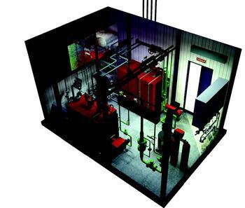 Рис. 7. Трехмерная модель паровой котельной, выполнен ная специалистами ОАО МПНУ Энерготехмонтаж (фрагмент 2)