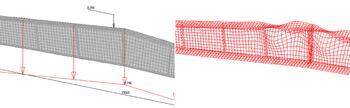 Рис. 12. Модель из оболочечных элементов, созданная автоматически в Гепард-А (слева), и первая форма потери устойчивости стенки в SCAD (справа)