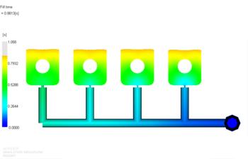 Рис. 5. Растекание расплава материала 1 в форме после балансировки впускных литниковых каналов (фрагмент); положение фронта расплава показано для времени 0.88 с от начала впрыска