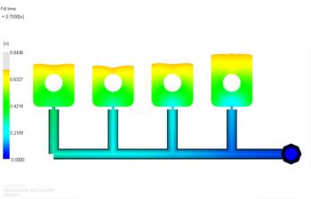 Рис. 6. Растекание расплава материала 1 в форме после балансировки впускных литниковых каналов (фрагмент) при уменьшенном времени впрыска; положение фронта расплава показано для времени 0.7 с от начала впрыска