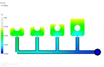 Рис. 7. Растекание расплава материала 2 в форме после балансировки впускных литниковых каналов, проведенной для материала 1 (фрагмент); положение фронта расплава показано для времени 0.75 с от начала впрыска