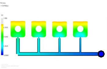 Рис. 8. Растекание расплава материала 1 в форме после балансировки разводящих литниковых каналов (фрагмент); положение фронта расплава показано для времени 0.875 с от начала впрыска