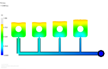 Рис. 9. Растекание расплава материала 2 в форме после балансировки разводящих литниковых каналов, проведенной для материала 1 (фрагмент); положение фронта расплава показано для времени 0.88 с от начала впрыска