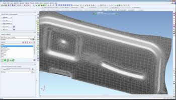 Вид конечно-элементной модели в конце моделирования процесса штамповки