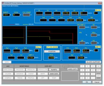 Рис. 3. Задание технологических условий моделирования процесса литья с использованием интерфейса системы управления литьевой машины NISSEI NC9300T