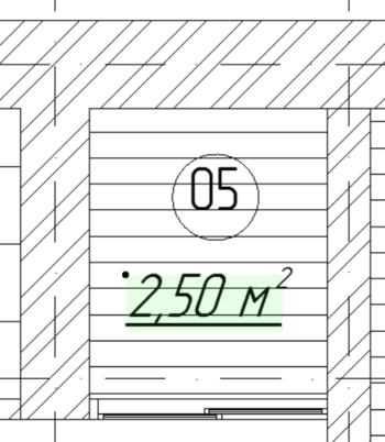 Рис. 14. Отображение значения площади на плане