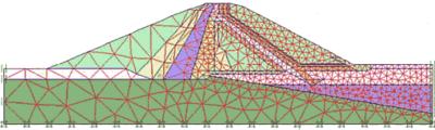 Рис. 4. Конечно-элементная сетка модели земляной плотины