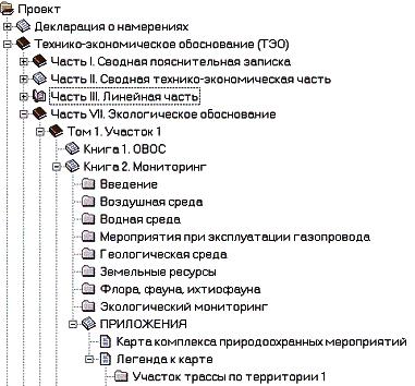 Фрагмент структуры проектной документации