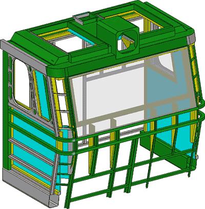 Рис. 1. Сборочная модель кабины тепловоза 2ТЭ70
