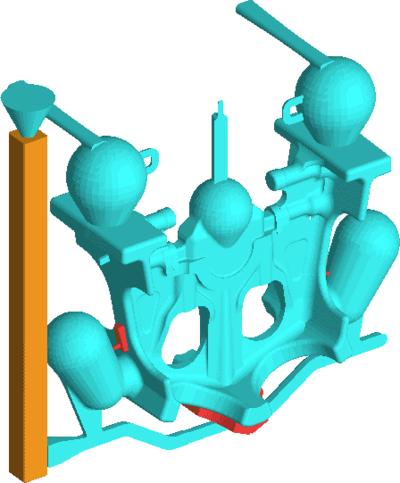 Рис. 31. Сборка модели из отдельных компонентов (формат STL) и преобразование геометрии во внутренний формат LVMFlow