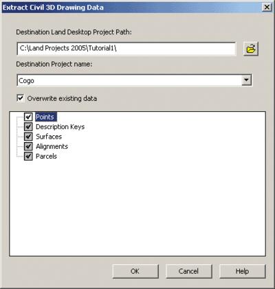 Рис. 10. Выбор проекта Autodesk Civil 3D для импорта данных в проект Autodesk Land Desktop