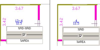 Рис. 19 (иллюстрация слева). Формат описания, включающий номер квартиры (FID) и номер помещения (RID); Рис. 20 (иллюстрация справа). Изменение формата описания помещений для целого этажа простым изменением шаблона