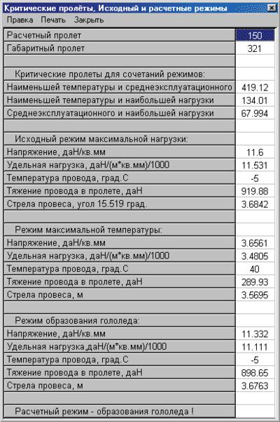 Рис. 15. Таблица расчета критических пролетов и выбора стандартных исходных и расчетных режимов