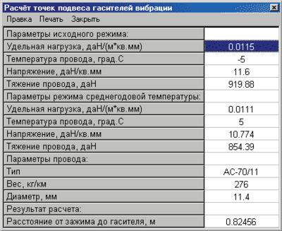 Рис. 16. Таблица расчета мест установки гасителей вибрации