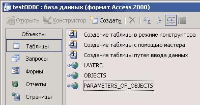 Рис. 5. Таблицы в Microsoft Access