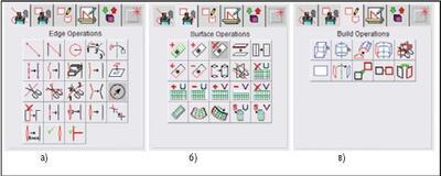 Инструментарий для операций с геометрией: а) ребрами, б) поверхностями, в) телами