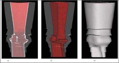 Литейный блок лопатка: а) модель блока; б) сетка керамической формы; в) шесть слоев теплоизоляции (ОАО НПО Сатурн)