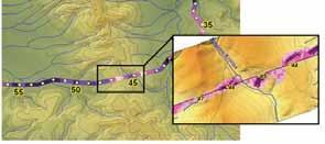 Пример изменения детальности модели в зоне возможного загрязнения территории трубопровода.