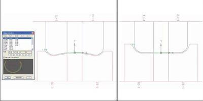 Параметрическая калибровка валков в COPRA. Переход от метода W#формования (верхняя валковая клеть) к стандартному методу подгибки кромок (нижняя валковая клеть) простым изменением внутренней дуги с 15 градусов на 0 градусов