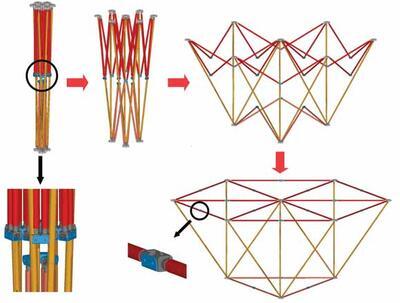 Трансформация элементарной ячейки из сложенного состояния в развернутое