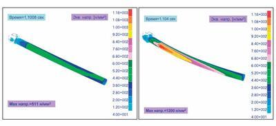 Петля крепления и трубчатый стержень. Распределение эквивалентных напряжений (по Мизесу) для моментов времени 1,1008 с и 1,104 с
