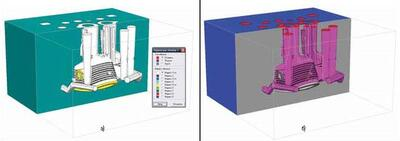 Индексирование объемов (а) и границ (б) отливки Корпус в модуле Мастер-3D (ОАО ААК ПРОГРЕСС им. Н.И. Сазыкина)