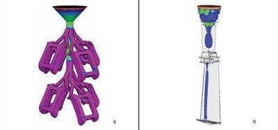 Результаты расчета пористости в Фурье-3D: а) микропористость на поверхности отливок Корпус часов (ЗАО ПОЛЕТ-ЭЛИТА); б) осевая пористость в отливке Лопатка рабочая ГТД (ФГУП ММПП Салют)