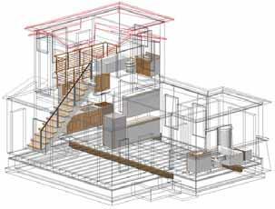 Пример визуализации здания, где крыши и стены отображаются в каркасном режиме, а остальные объекты – в обычном