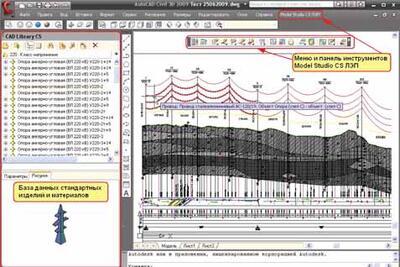 Интерфейс программного комплекса Model Studio CS ЛЭП
